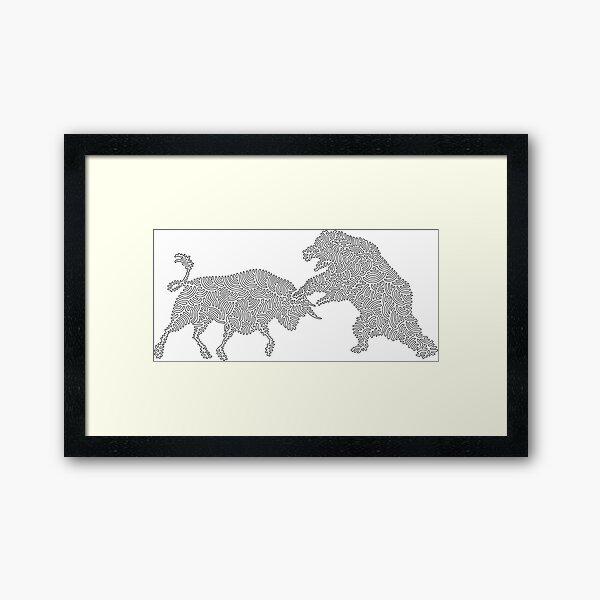 Bull vs the Bear eine Strichgrafik von tfoust Gerahmter Kunstdruck