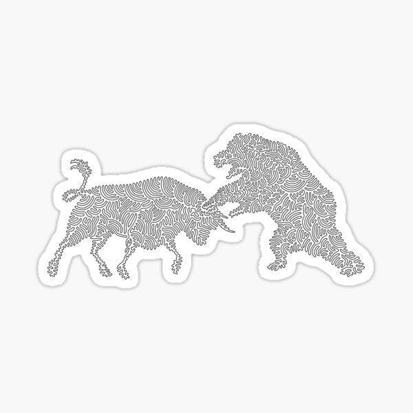 Bull vs the Bear one line art by tfoust  Sticker