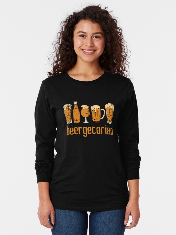"Vista alternativa de Camiseta de manga larga ""Beergetarian"" Drunkard Drunk Beer Shirt para el diseño de camiseta alcohólica Alcohol Wasted Partying"