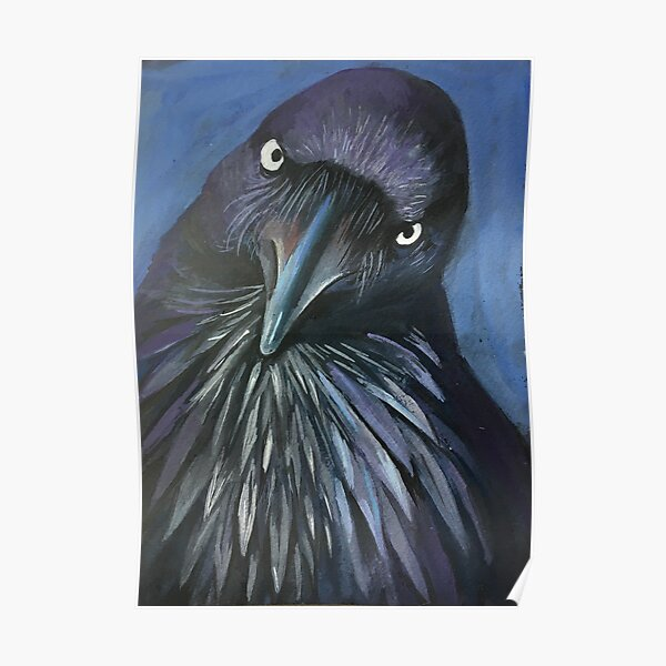 Perched and sat, and nothing more, the Raven. Cooped up bird telling you to stay home!! Poster
