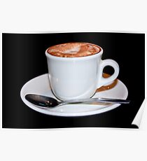 Cappuccino in white cup & saucer Poster