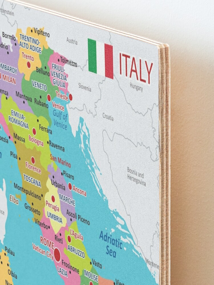 Alternate view of Italy map with regions and main cities Mounted Print