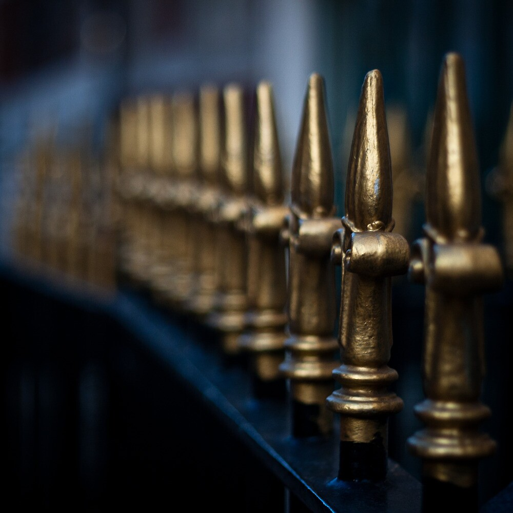 gold railings by Tony Day