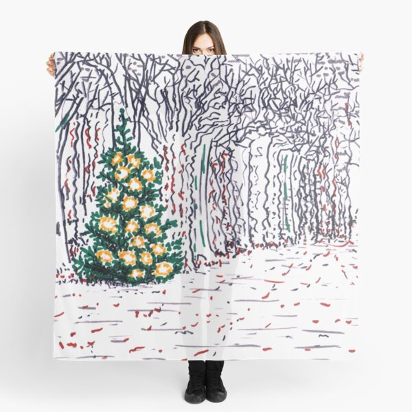 Tree with Christmas Decoration Scarf