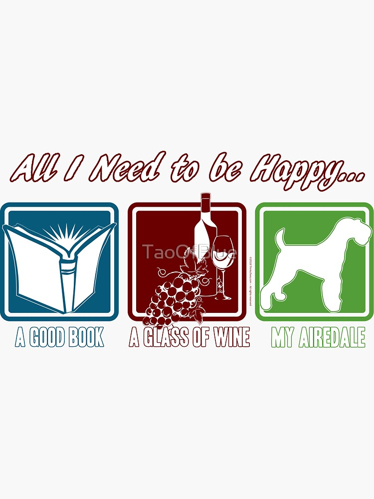 Book, Wine, Airedale by TaoOfBlue