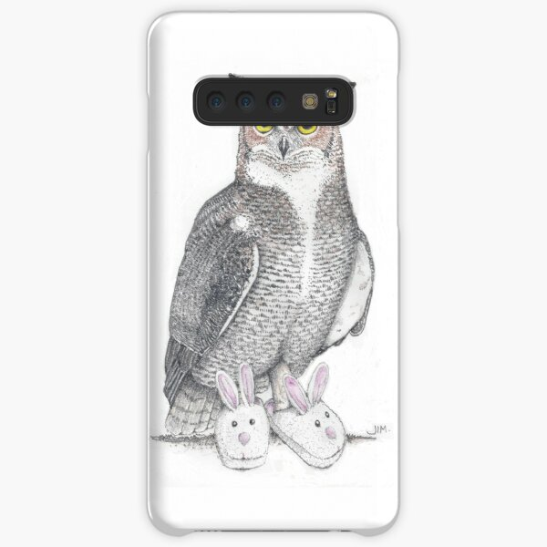 Great horned owl in bunny slippers Samsung Galaxy Snap Case