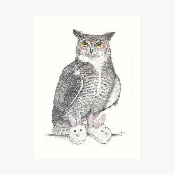 Great horned owl in bunny slippers Art Print