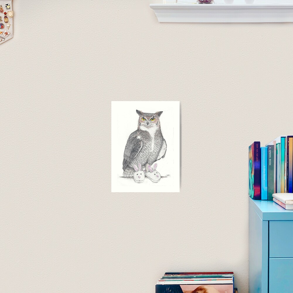 Great horned owl in bunny slippers Art Print