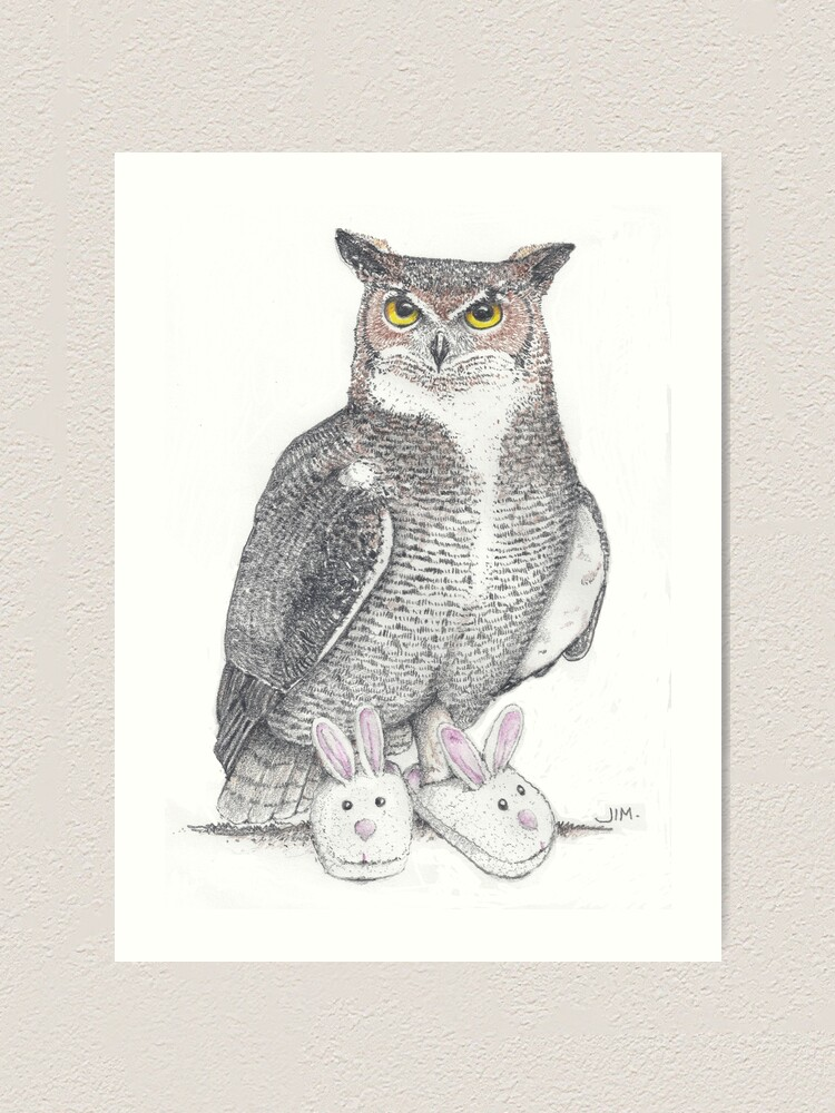 Alternate view of Great horned owl in bunny slippers Art Print