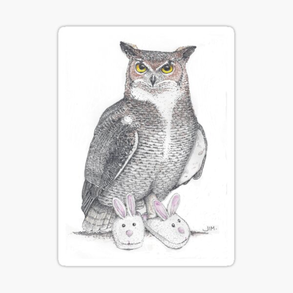 Great horned owl in bunny slippers Sticker