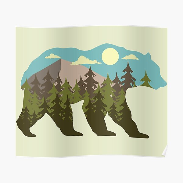 bear silhouette with beautiful landscape Poster