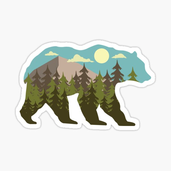 bear silhouette with beautiful landscape Sticker
