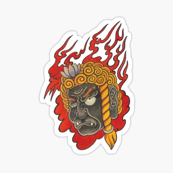 Traditional Japanese Irezumi Fudo Myo Sticker