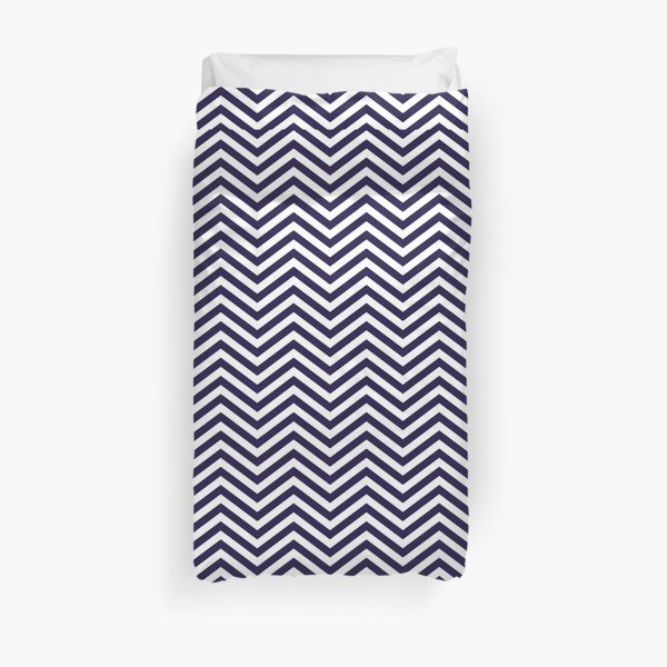 Simple Navy Blue and White Chevron Pattern Duvet Cover