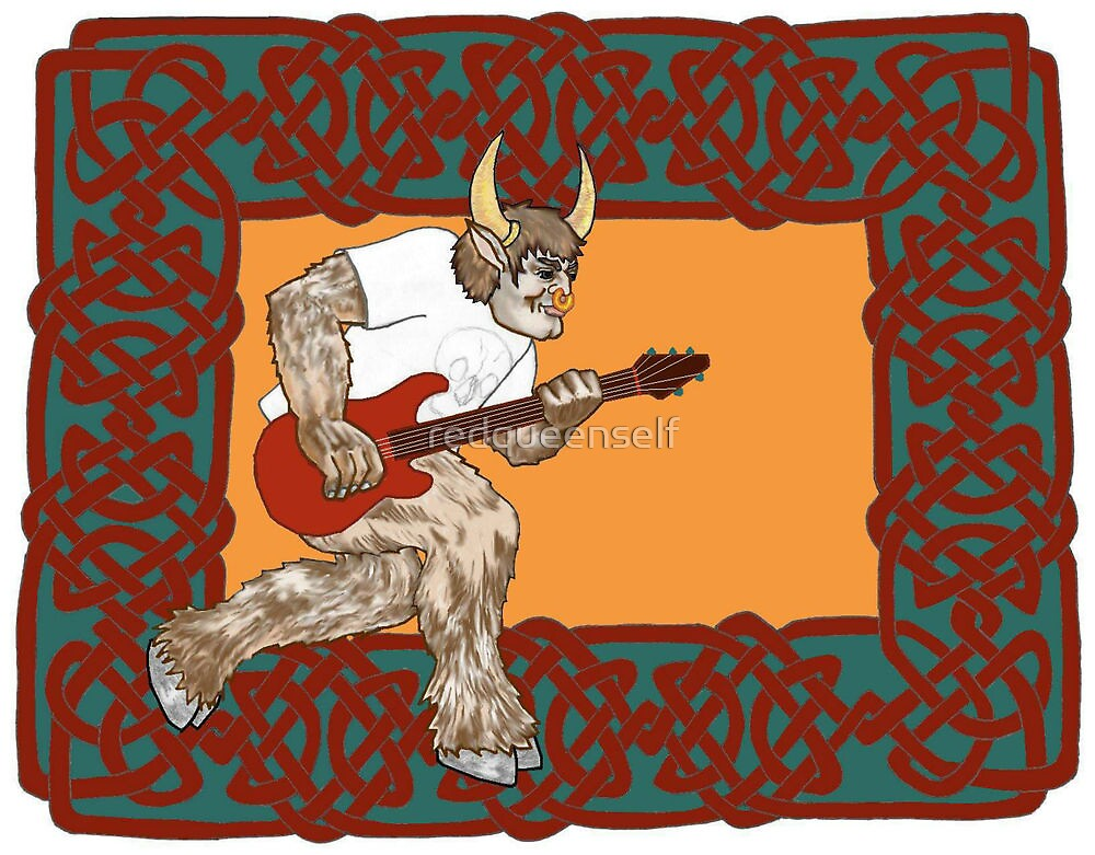 Celtic Minotaur Guitar by redqueenself