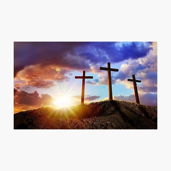 Crucifixion Of Jesus Christ At Sunrise - Three Crosses On Hill. Photographic Print