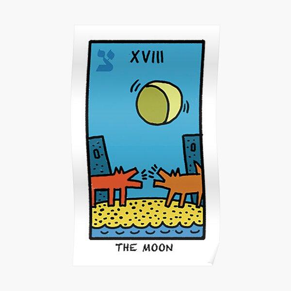 Kieth Haring Moon Tarot Poster