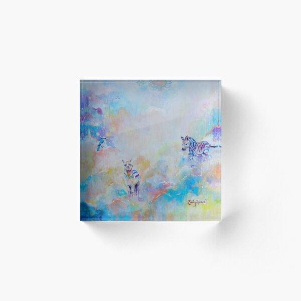 Colourful Alpaca and Zebra cloud design Acrylic Block