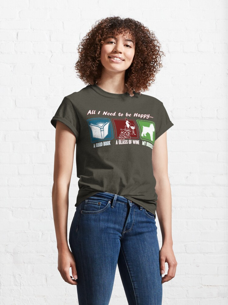Alternate view of Book, Wine, Brussels Griffon Classic T-Shirt