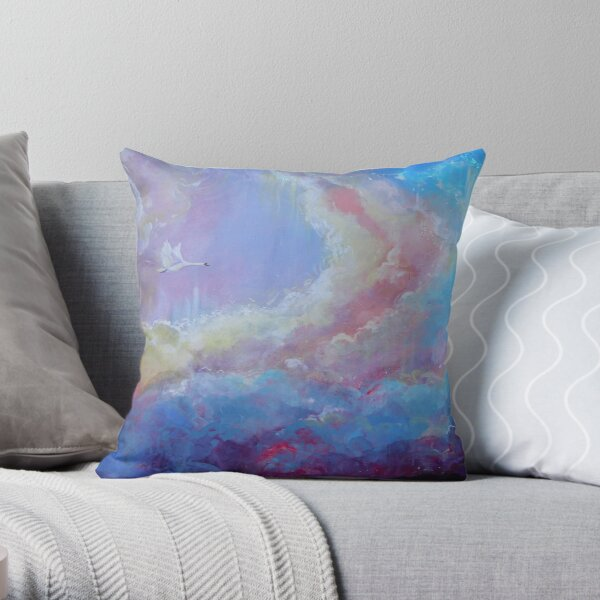 Swan flying in rainbow clouds Throw Pillow