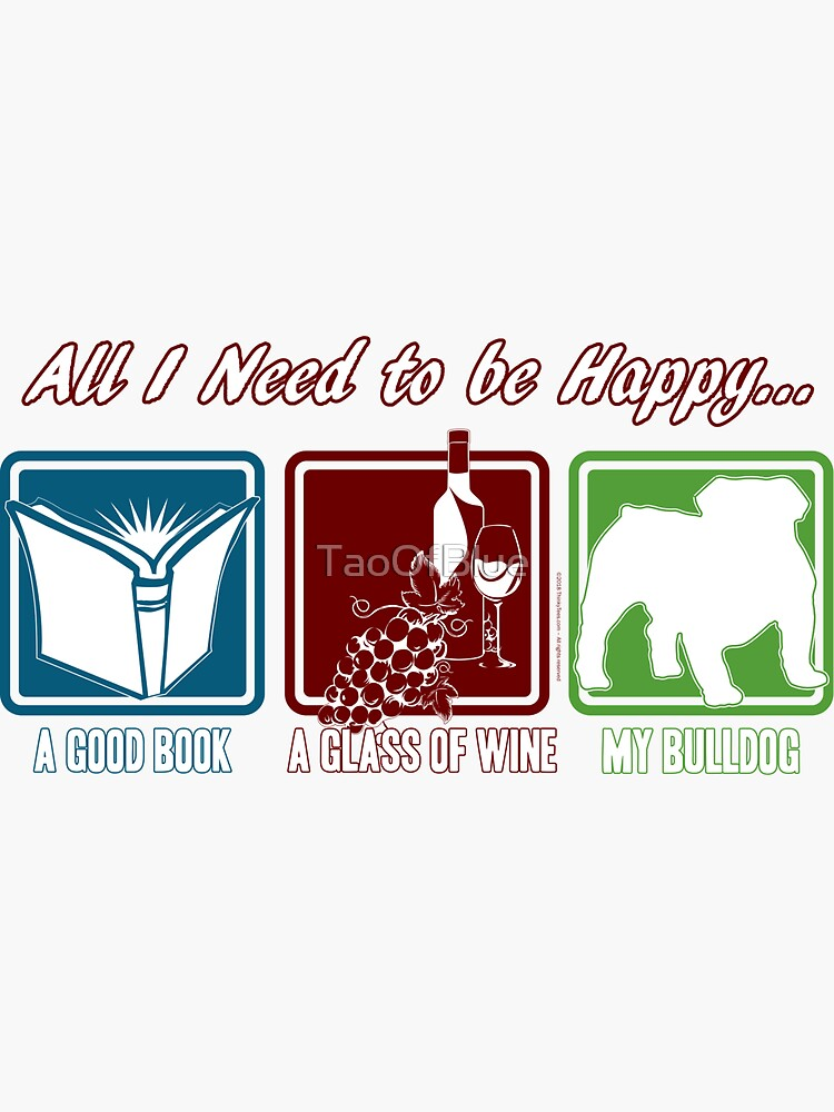 Book, Wine, Bulldog by TaoOfBlue