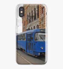 Blue tram iPhone Case