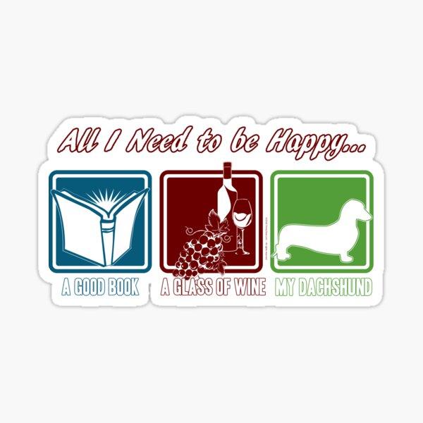 Book, Wine, Dachshund (Smooth) Sticker