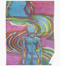Man following natural path intune with nature and his soul Poster