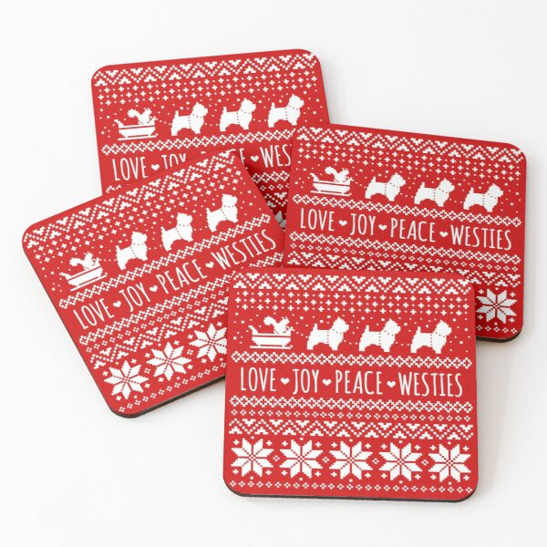 Love Joy Peace Westies | West Highland White Terriers Christmas Holiday Pattern Coasters (Set of 4)