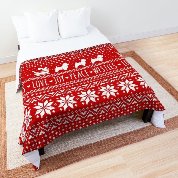 Love Joy Peace Westies   West Highland White Terriers Christmas Holiday Pattern Comforter