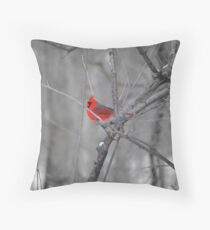 A Spot of Red in the Land of Black and White Throw Pillow