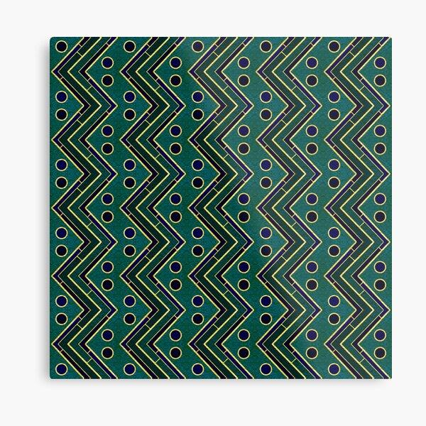 Verde Azulado con Brillo Oro Patrón Geométrico Moderno Chevron telas De Tapicería De Cortina