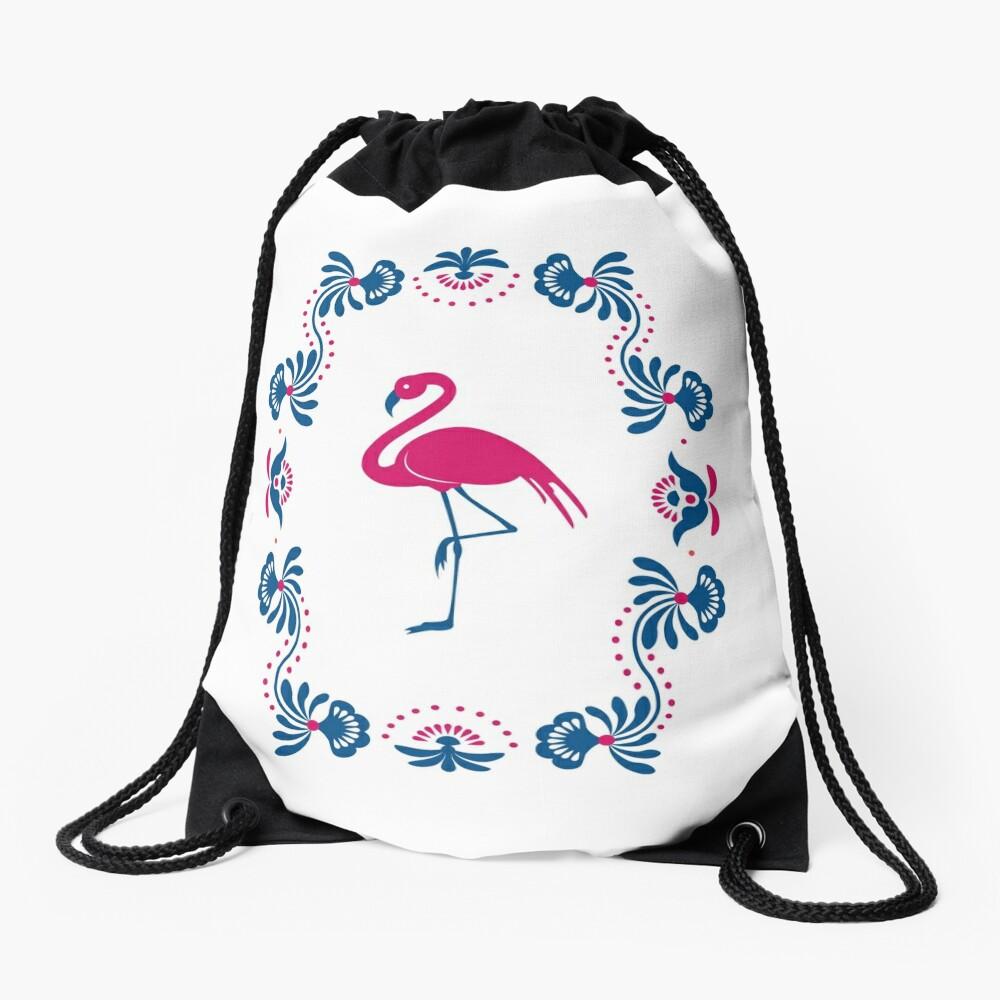 Folk Flamingo Drawstring Bag