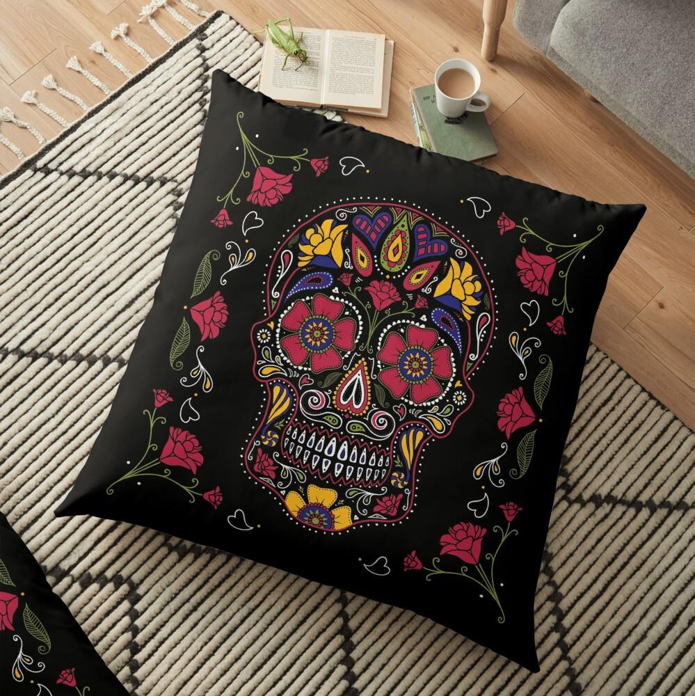 Day of the Dead Sugar Skull Dark Floor Pillow