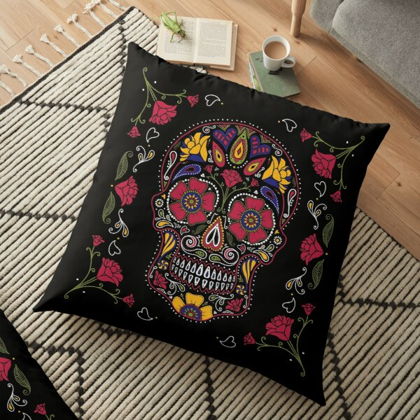 Day of the Dead Sugar Skull Dark Floor Pillow