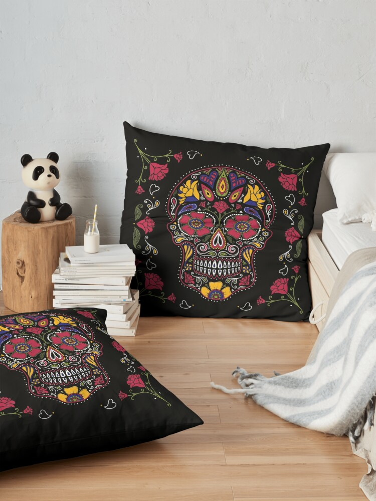 Alternate view of Day of the Dead Sugar Skull Dark Floor Pillow