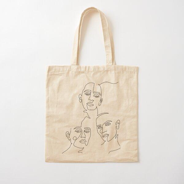 Line Art Women Cotton Tote Bag