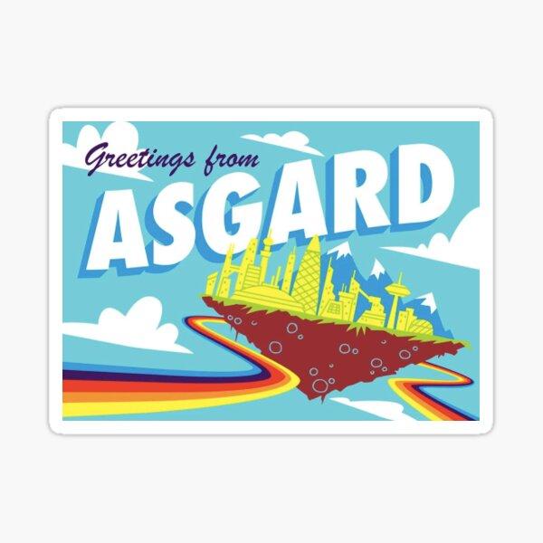 Postal retro de Asgard Pegatina