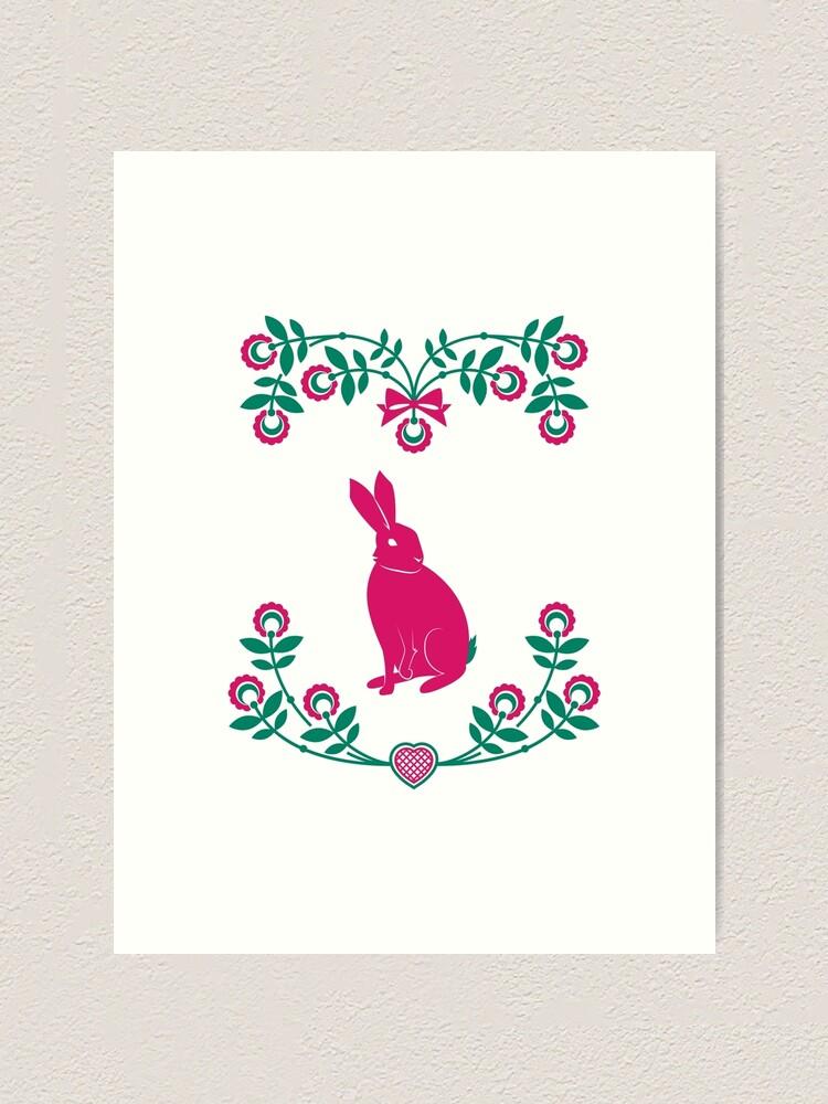 Alternate view of Folk Hare Art Print