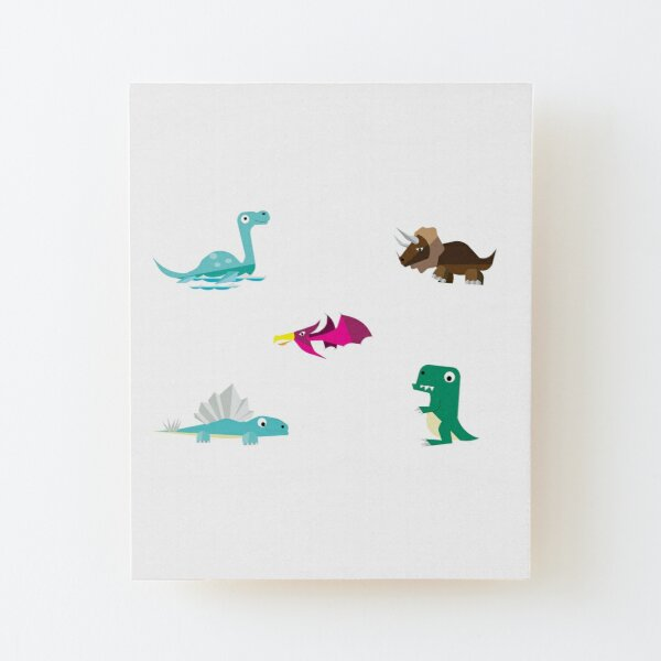 Dinosaurs Hanging Out Wood Mounted Print