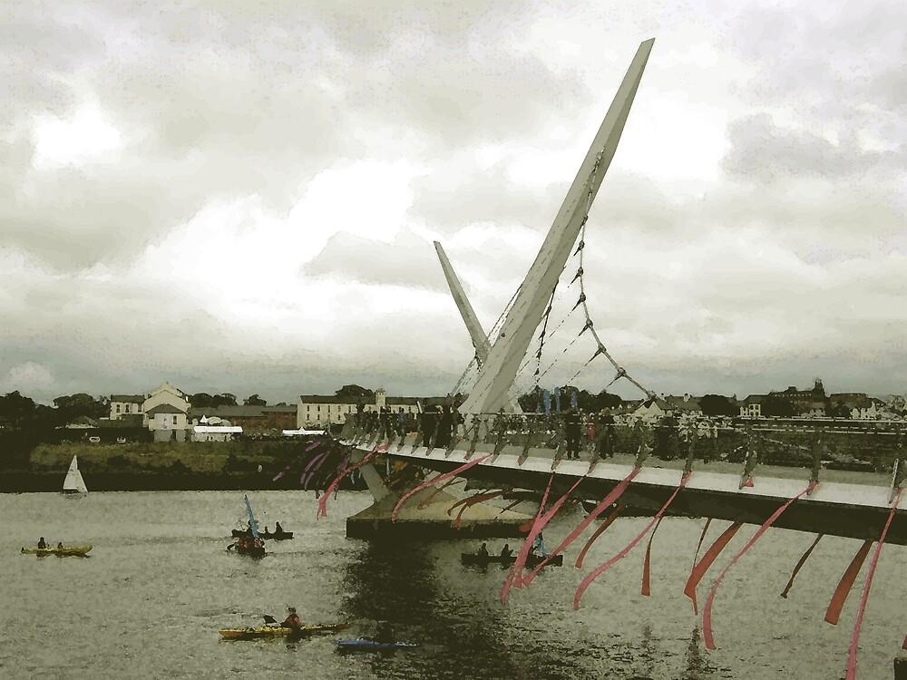 Derry Peace Bridge -  Derry Ireland by mikequigley