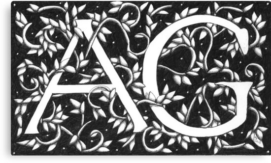 William Morris Inspired Monogram AG by Donna Huntriss