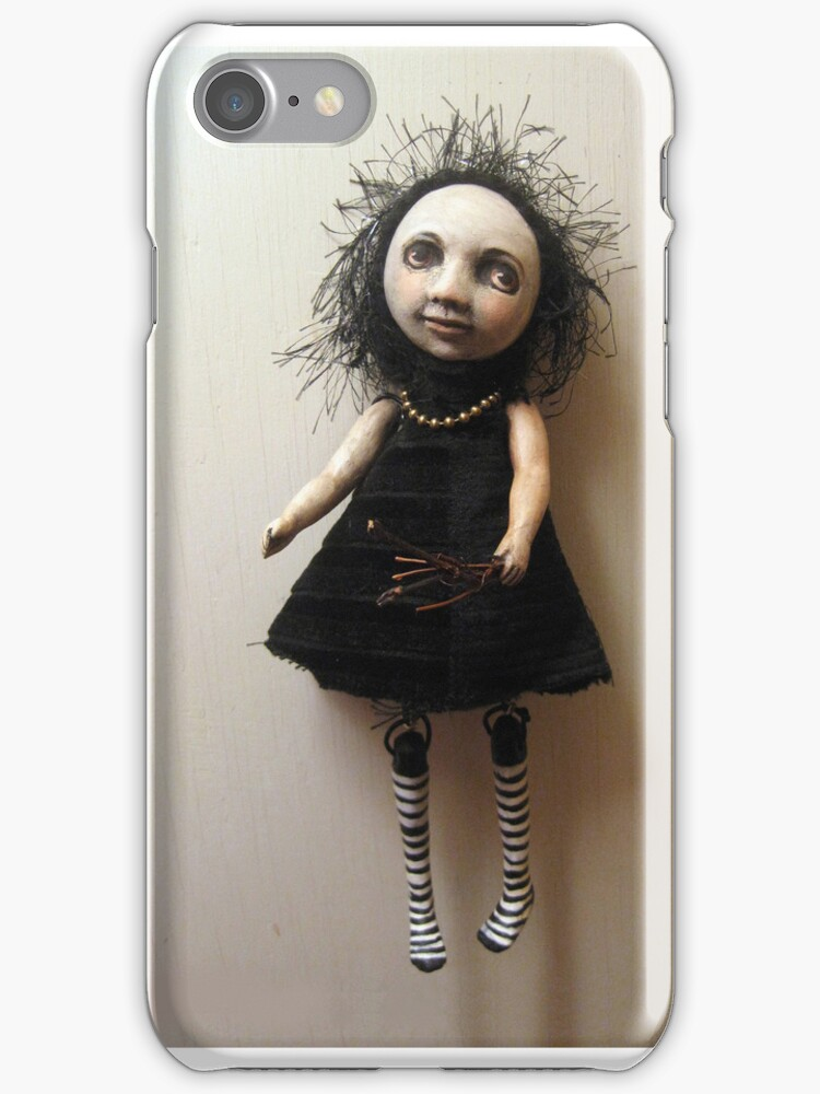Wilma the goth flower girl - humor fantasy iphone case by LindaAppleArt