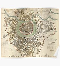 Vintage Map of Vienna Austria (1833) Poster