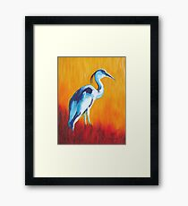 Watchful and Patient Blue Heron Framed Print