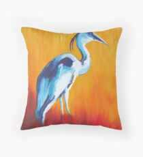 Watchful and Patient Blue Heron Throw Pillow