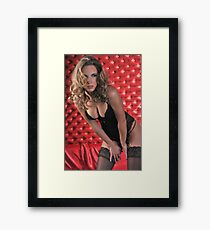 Sexy Lingerie Model posing pretty at red studio vintage background  Framed Print