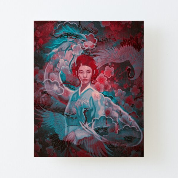 Girl and the dragon Canvas Mounted Print