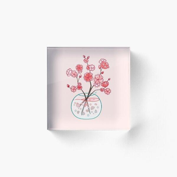 Glass Sakura Bouquet  Acrylic Block