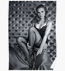 Sexy Lingerie Model posing pretty at studio vintage background Poster
